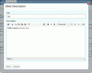 HTML support for slide descriptions