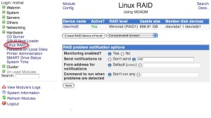 WebMin Raid Management 1